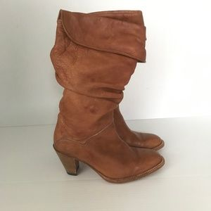 FRYE Dorado Slouch Brown Leather Boots Sz 6.5